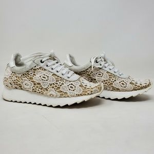 Casadei Low Top Lace Up White Tan Sneaker 5.5US